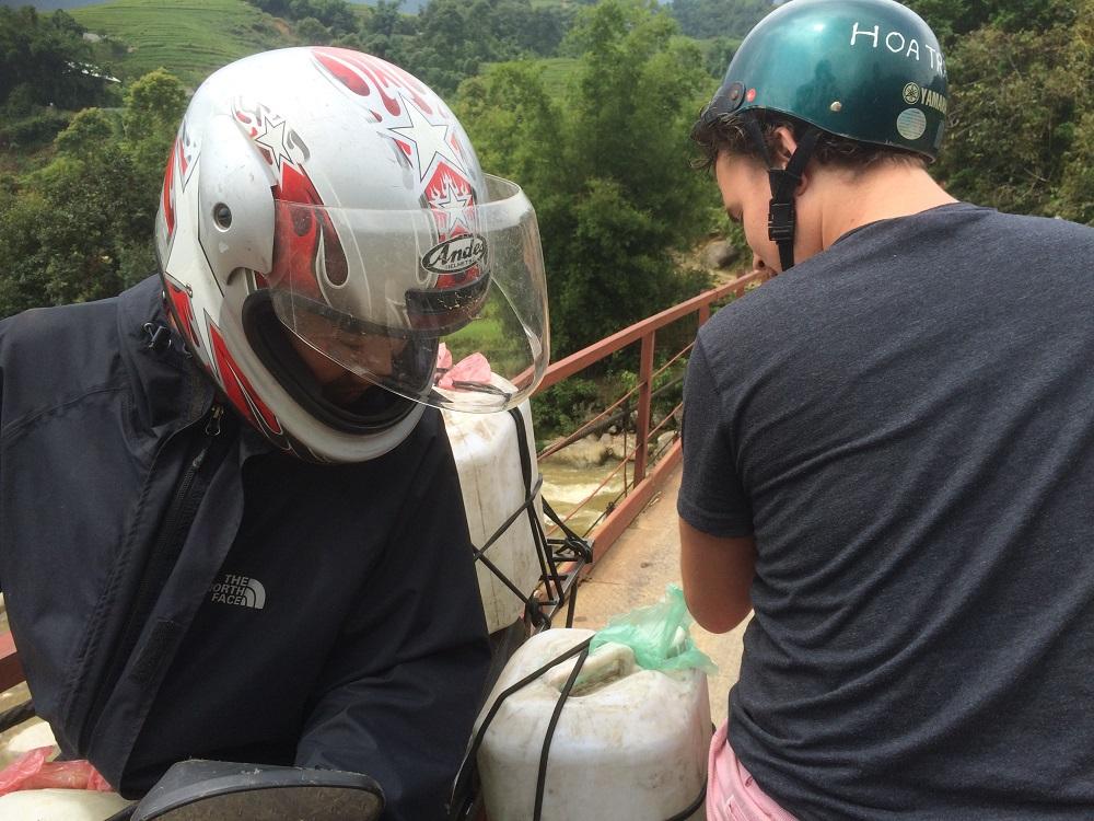 Sapa moped bridge crossing