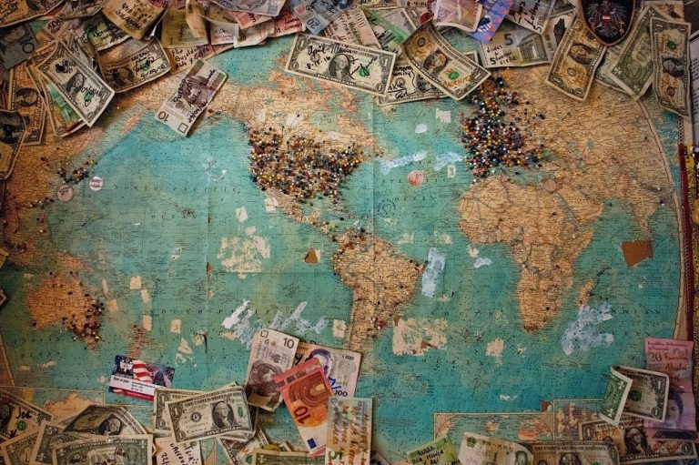 World map and currency