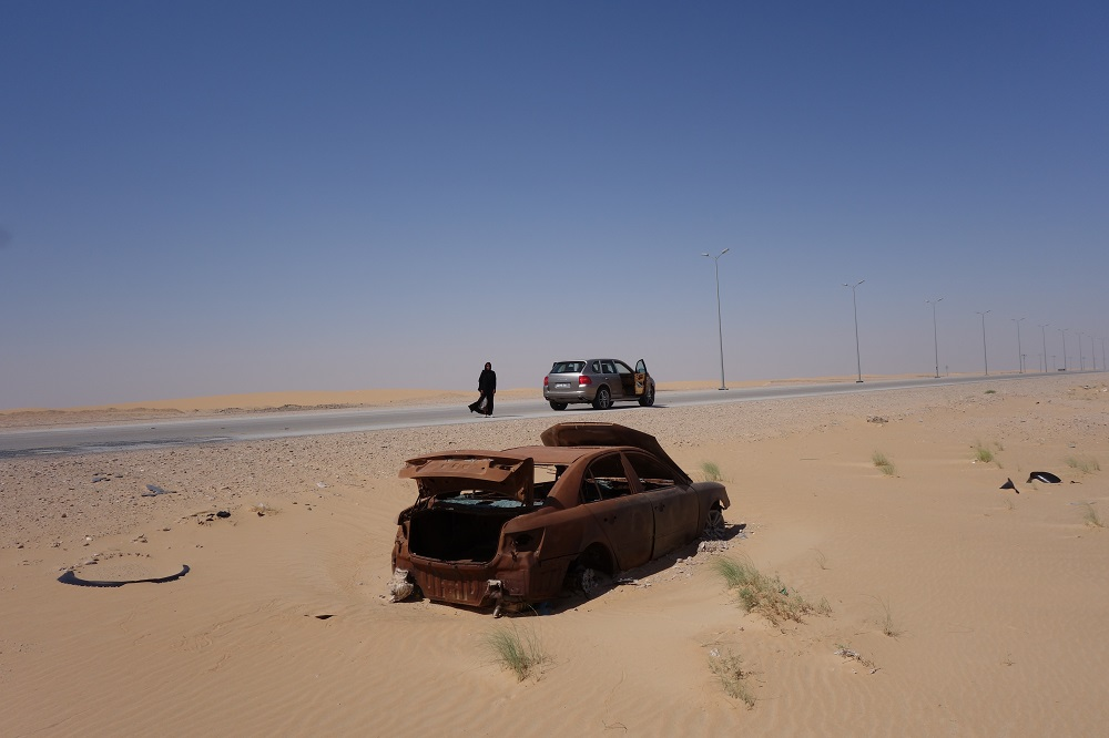 Car wreckage Saudi Arabia