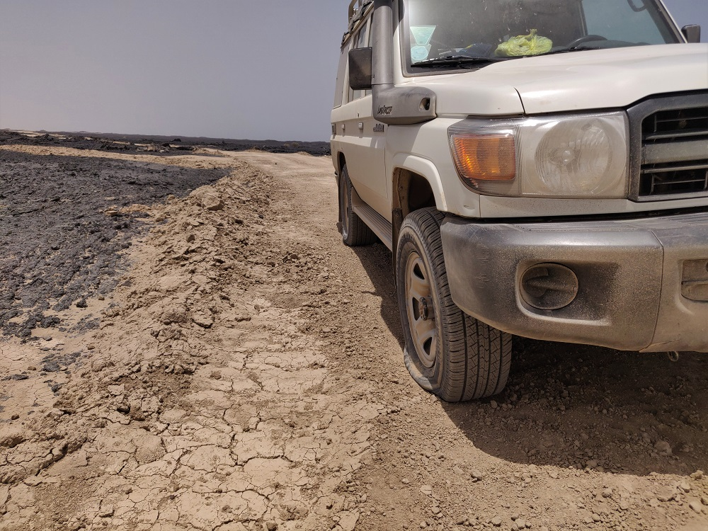 Ethiopia Danakil flat tire